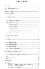 thesis preparation guide graduate school appendix 6 sample table of contents
