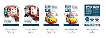 campaign material promoting uk tyre safety and driver s child care