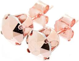 pewterhooter 18ct Rose Gold on <b>925 Sterling Silver</b> Stud <b>Earrings</b> ...