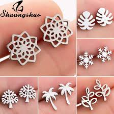 Shuangshuo <b>Fashion</b> Cute Hollow <b>Snowflake Stud</b> Earrings for ...