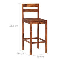 Home, Furniture & DIY vidaXL 2x Solid Sheesham Wood <b>Bar Chairs</b> ...