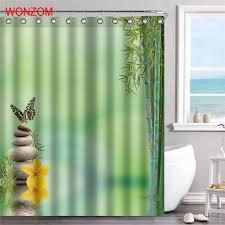 <b>WONZOM</b> Bamboo Polyester Fabric <b>Stone Shower</b> Curtain Scenery ...
