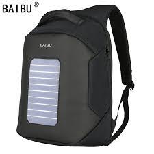 <b>BAIBU Men Backpack</b> Solar Powered <b>Backpack</b> Usb Charging <b>Anti</b> ...
