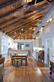 ceiling light exposed joist kitche open lighting plan apartment beams iron columns 1 social with beams lighting