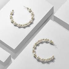 <b>Korean</b> Earrings / <b>Faux Pearl</b> Hoop Earrings / Large Hoops / Spring ...