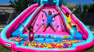 Emma Pretend Play with Water Slide Inflatable <b>Toys</b> - YouTube