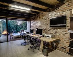 architecture home office modern house design with exposed brick wall mounted tv wooden desk with architecture home office modern design
