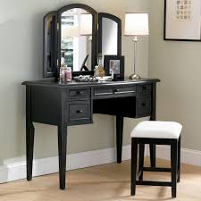 black stained wooden make up table with three fold mirror and white shade table lamp charming makeup table mirror lights