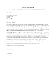 cover letter example for an internship template cover letter example for an internship