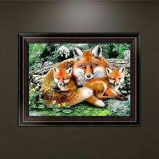 <b>Fox</b> Family DIY <b>5d Diamond Embroidery</b> Painting Cross Stitch Craft ...