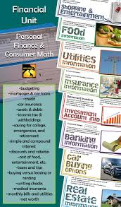 consumer math personal finance complete unit high schools finance for middle and high school budgeting credit taxes interest and