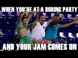 When you're at a boring party and your jam comes on - YouTube via Relatably.com