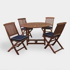 Round Wood Lira <b>5 Piece Folding</b> Outdoor Dining Set | World Market