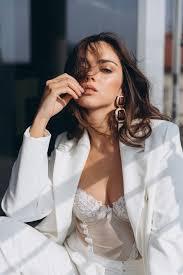 Beautiful young <b>sexy woman</b>, glamour girl in the <b>white elegant</b> jacket ...