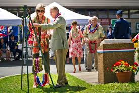 u s department of defense photo essay jerry coffee and his wife place a traditional hawaiian lei during