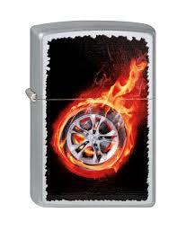 <b>Зажигалка</b> ZIPPO <b>Tire</b> On Fire, с покрытием Satin Chrome ...