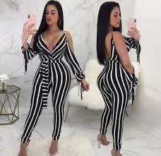 2019 Fashion <b>Striped</b> Long Rompers Jumpsuits <b>Summer New</b> ...