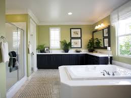 bathroom shower tile design color combinations: large bathroom with tub shower and l shaped counter color scheme in light