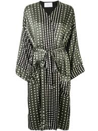 Asceno Contrast <b>Polka Dot Silk</b> Dress | Farfetch.com