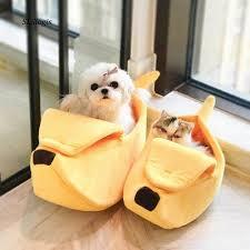 Cute Pet Dog <b>Cat Bed</b> Nest Banana Shape Kennel Soft <b>Warm</b> Plush ...
