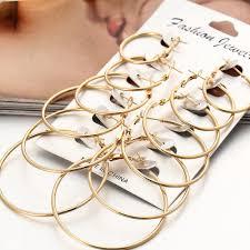 Women <b>6 Pairs/set Vintage</b> Silver Gold Circle punk earrings ...