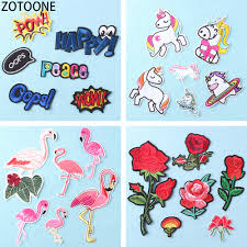 <b>ZOTOONE</b> 6Pcs Flamingo <b>Unicorn</b> Iron on Patch Diy Letters ...