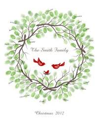 Christmas Thumbprint <b>Wreath Guest</b> Book Print with Ink Pad ...