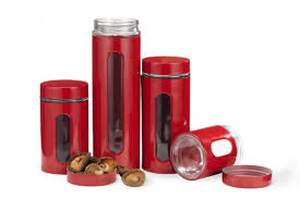 palladian red window kitchen canister set