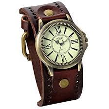 JewelryWe <b>Vintage Leather</b> Strap <b>Wide</b> Band Wristwatch Cuff Quartz ...