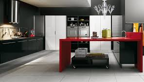 classy modern kitchen design displaying black gloss kitchen cabinet and beautiful acrylic pendant light above red beautiful modern kitchen lighting pendants yellow