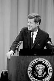 「On January 25, 1961, President John F. Kennedy becomes the first U.S. president to hold a live televised news conference.」の画像検索結果