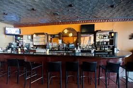 astounding restaurant bar interiors design with blue color scheme excellent interior dark brown oval table along black color furniture office counter design