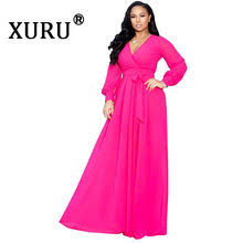 Online Shop <b>XURU</b> Women's Beach Chiffon Print Long Dress V ...