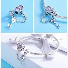 BAMOER <b>100</b>% <b>925 Sterling Silver</b> Key of Heart Lock Crystal CZ ...