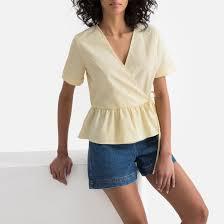 <b>Блузка</b> в полоску с v-образным вырезом и короткими рукавами ...