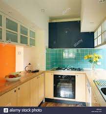 Turquoise Kitchen Modern Kitchen Turquoise Kitchen Units Cupboards Stock Photo