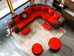 airy red and black ottoman living room black and red furniture