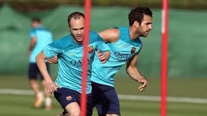 Iniesta i Fabregas na treningu Barcelony