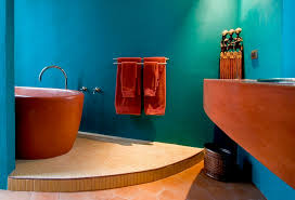 popular cool bathroom color:  modern mexican style bathroom in cool turquoise and orange design house house architects