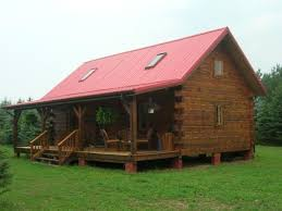 oak log cabins: log cabin home plans designs with skylight window trim adhered by corrugated metal roofing above hanging