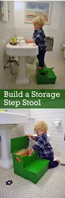bathroom space savers bathtub storage: green diy kids stool with built in bath toy storage
