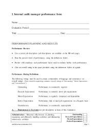 job performance evaluation internal auditors job description