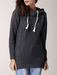 Cozy! <b>Chic</b> Grey Hooded <b>Long Sleeve Pure</b> Color Women's Sweater ...