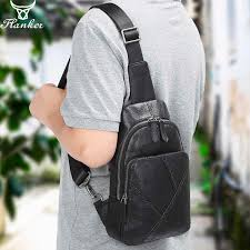 <b>Flanker genuine leather</b> men chest bag fashion chest pack phone ...