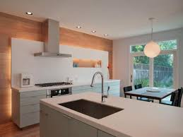 modern kitchen with wood accent wall accent lighting ideas
