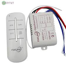 1/2/3/<b>4 Way</b> 220V Wireless Receiver Lamp Light RF <b>Remote Control</b> ...