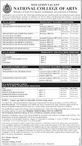 jobs in national college of arts nca lahore