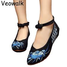 Women Chinese Style Casual <b>Old Beijing</b> Wedges <b>Pointed</b> Toe ...