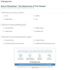 quiz worksheet the adventures of tom sawyer study com print the adventures of tom sawyer by mark twain summary characters analysis worksheet