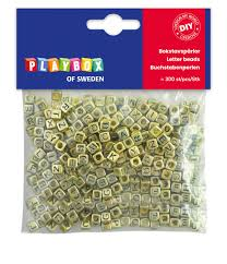 Plastic beads letters gold <b>6 x</b> 6 mm <b>300 pcs</b> -